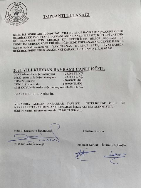 """SON DAKİKA!  """"KİLİS'TE KURBANLIKLARIN FİYATLARI BELLİ OLDU!"""""""